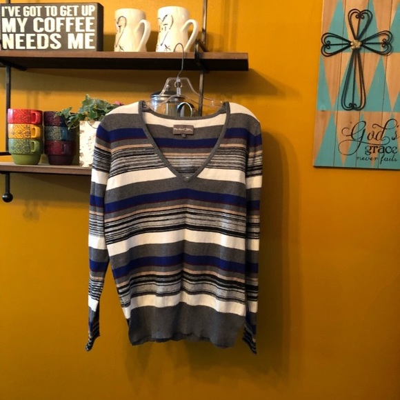 56b40e04e834 Michael Stars Sweaters   Striped Vneck Sweater In Blue 178   Poshmark